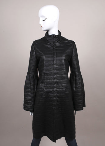 Escada Black Coated Wool Bell Sleeve Coat Frontview