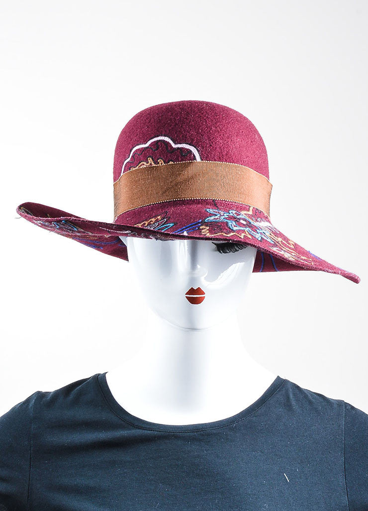 Maroon, Brown, and Blue Etro Wool Blend Embroidered Wide Brim Hat Frontview
