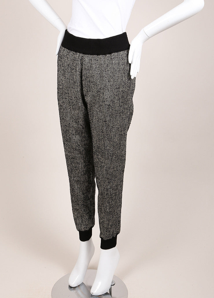"Giada Forte New With Tags Black and White Knit Tweed ""Notte"" Jogging Pants Sideview"