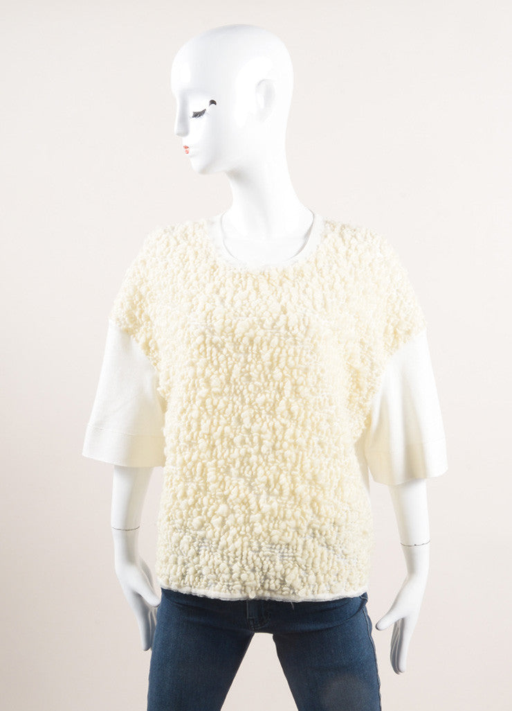 Giambattista Valli Cream Wool Boucle Short Sleeve Top Frontview
