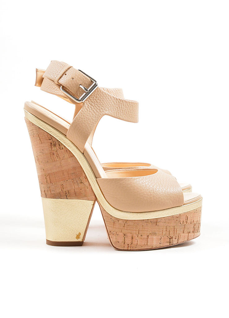 Giuseppe Zanotti Tan and Gold Leather Metallic Cork Platform Sandals Sideview
