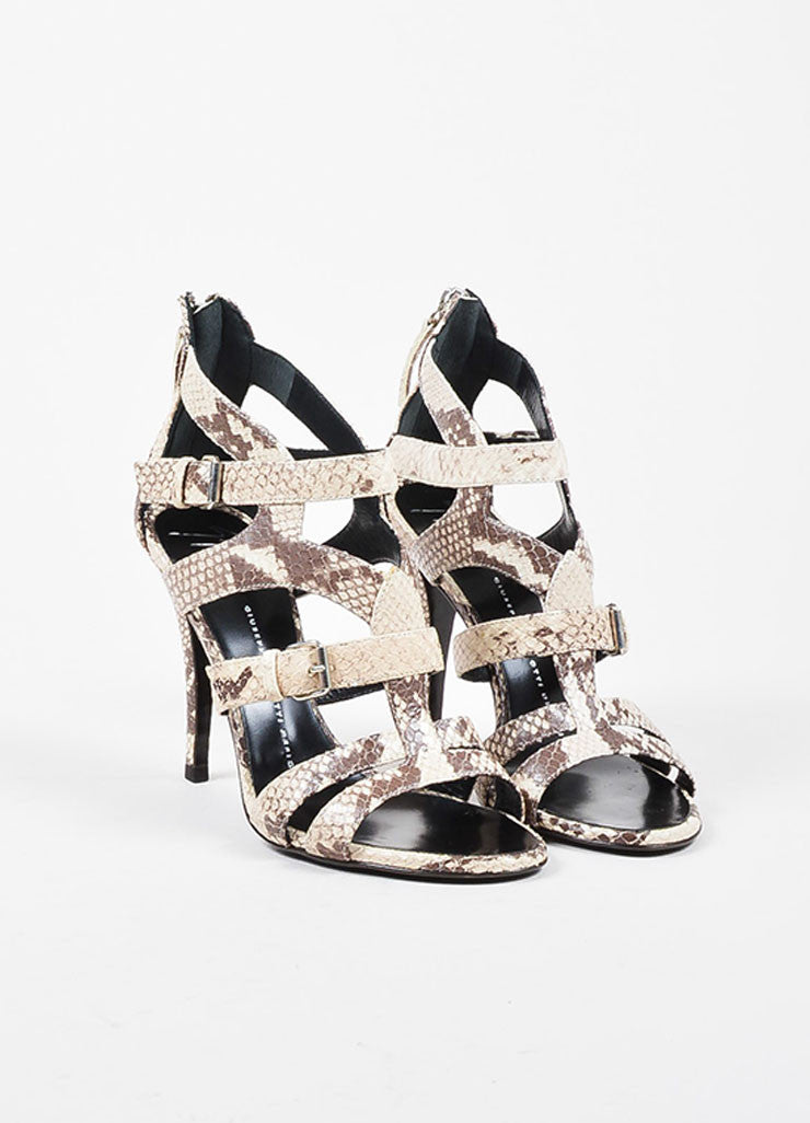 Giuseppe Zanotti Taupe and Brown Leather Embossed Snakeskin Cage Sandals Frontview