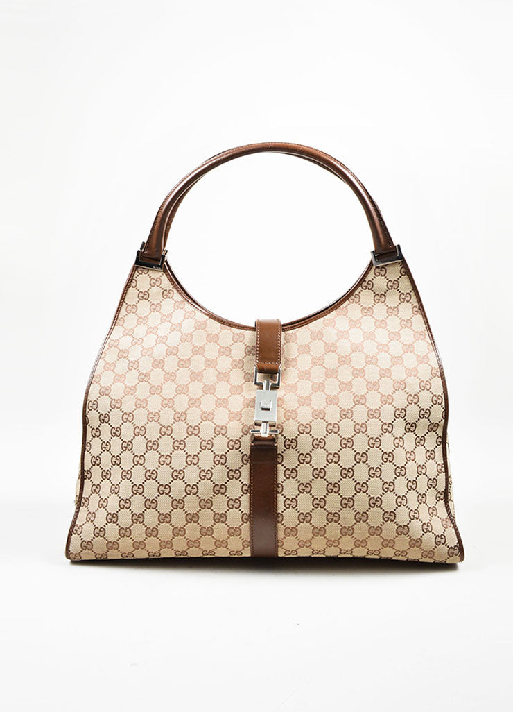 "Tan and Brown Gucci Monogram Canvas and Leather ""Bardot"" Zip Extra Large Shoulder Bag Frontview"