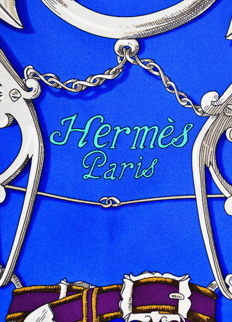 "Multicolor Hermes Silk Horse Bridle Print ""L'Instruction Du Roy"" Scarf Brand"