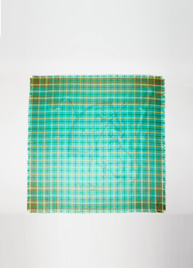Green, Brown, and Yellow Hermes Plaid Silk Horse Print Scarf Frontview