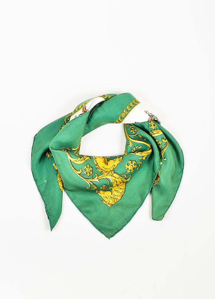 "Hermes Green and Yellow Silk ""La Promenade de Longchamps"" Print Square Scarf Frontview"