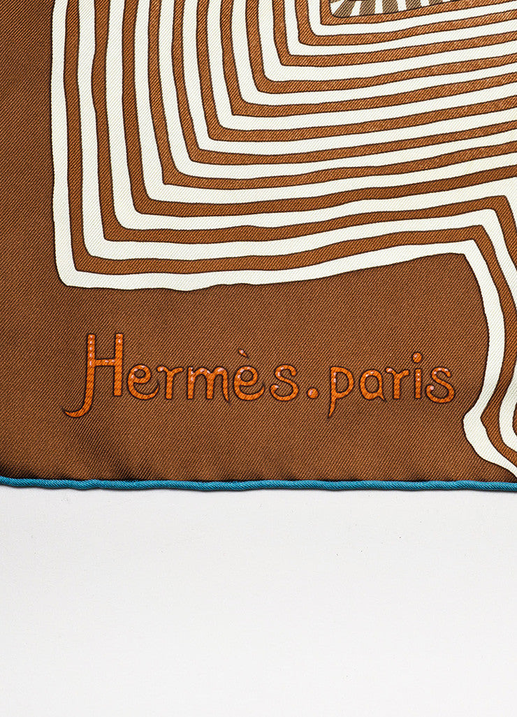 "Hermes Multicolor Silk Printed ""Coupons Indiens"" Square 90 cm Scarf Brand"