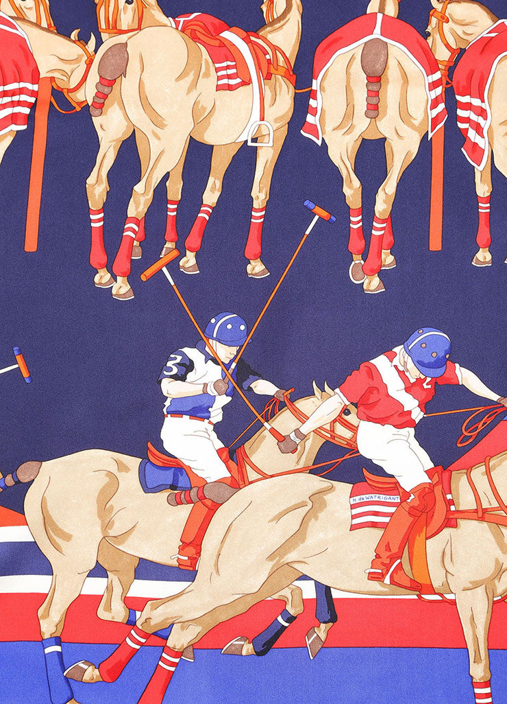 "Hermes Red and Blue Silk Polo Player and Horse Print ""Les Poneys de Polo"" Scarf Detail"