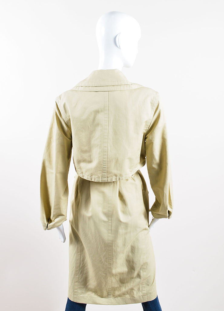 Hermes Tan Khaki Belted Trench Coat Backview