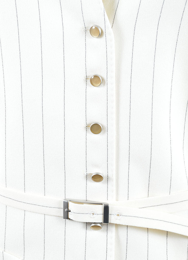 Hermes White and Black Pinstripe Tuxedo Vest Detail