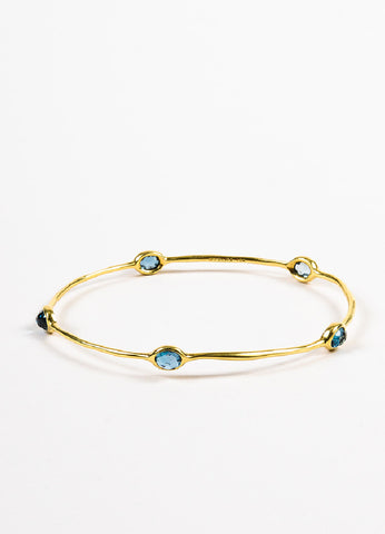"Ippolita 18K Yellow Gold and Blue Topaz ""Rock Candy"" Bangle Bracelet Frontview"