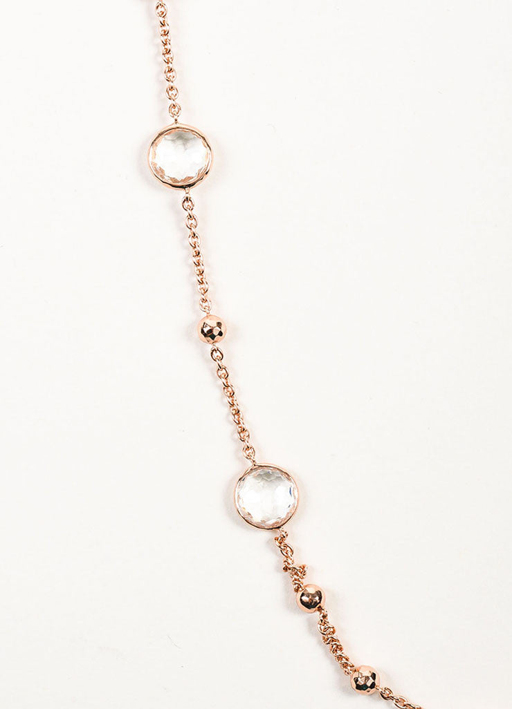 "Ippolita Rose Gold Plated Sterling Silver and Clear Quartz ""Lollipop"" Long Necklace Detail 2"