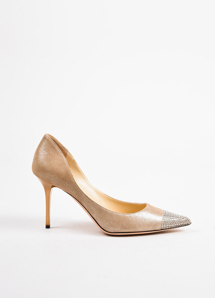 Nude Jimmy Choo Silver Metallic Suede Leather Crystal Cap Toe Pumps Side