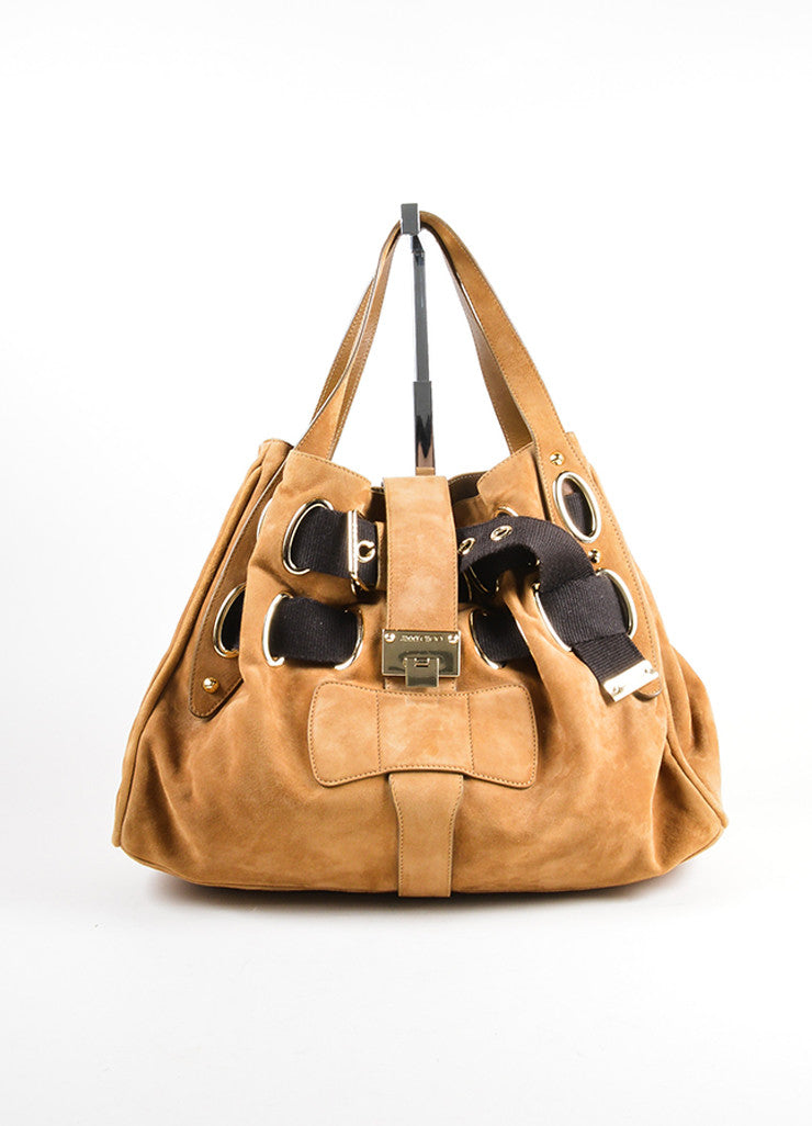 Jimmy Choo Brown Suede and Canvas Woven Strap Tote Bag Frontview
