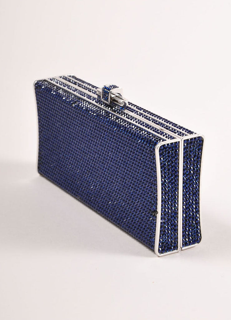 Judith Leiber Navy and Silver Rhinestone Small Rectangular Minaudiere Clutch Bag Sideview