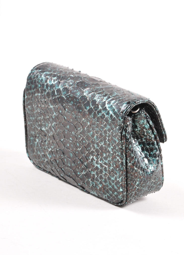Judith Leiber Black and Teal Snakeskin Chain Strap Clutch Bag Sideview