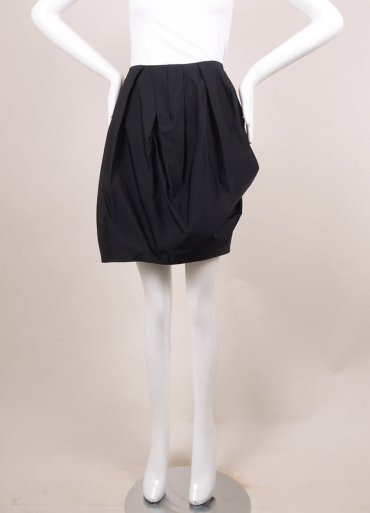 Lanvin Black Pleated Mini Skirt Frontview