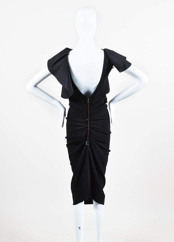 Lanvin Black Twill Silk Oversized Ruffle Ruched Sleeveless Cocktail Dress Backview