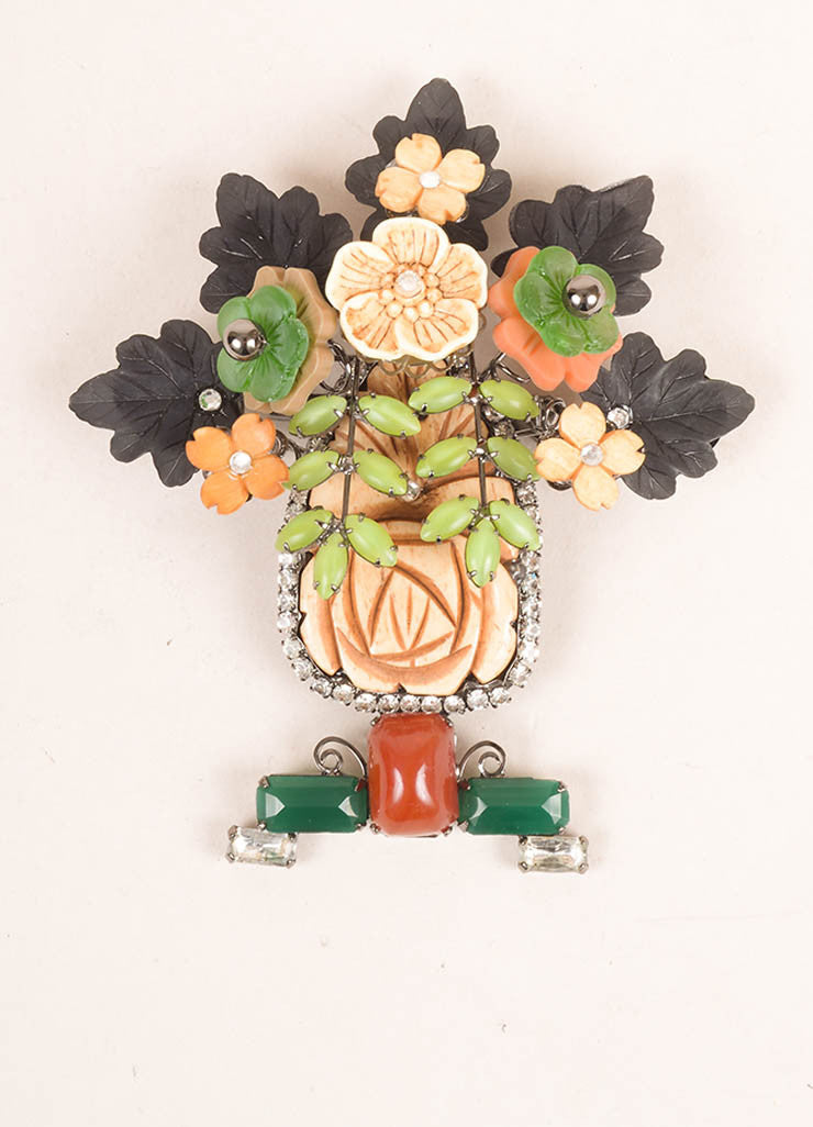 Lawrence Vrba Multicolor Stone Oversized Floral Rhinestone Brooch Pin Frontview