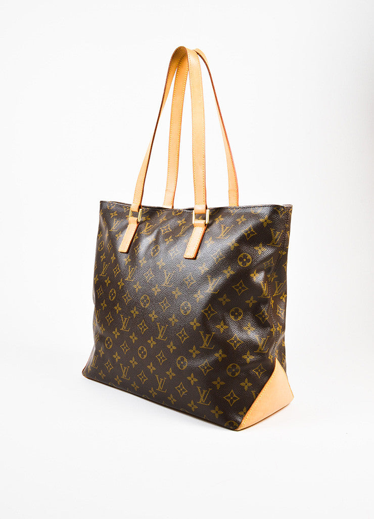 "Louis Vuitton Brown Tan Coated Canvas Monogram ""Cabas Mezzo"" Zip Tote Bag Sideview"