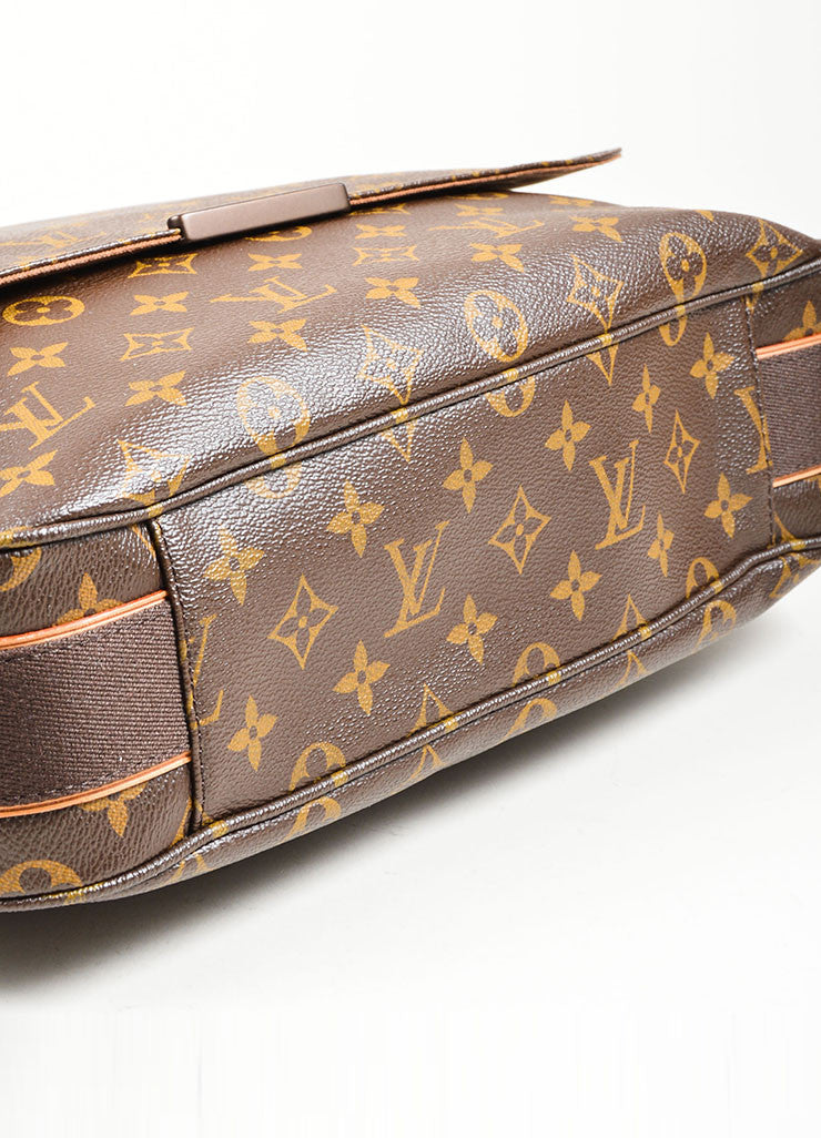 "Brown and Tan Louis Vuitton Monogram Coated Canvas ""Beaubourg GM"" Messenger Bag Bottom View"