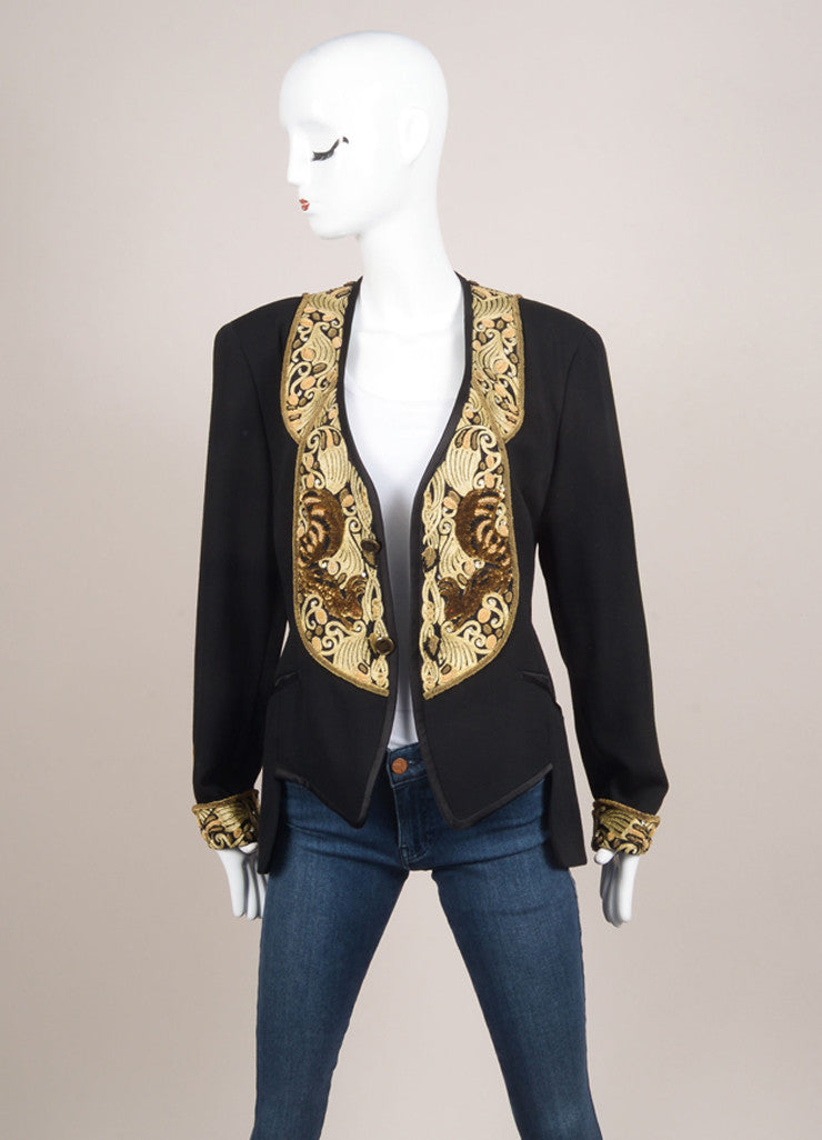 Matsuda Black and Gold Wool Embroidered Sequin Blazer Jacket Frontview