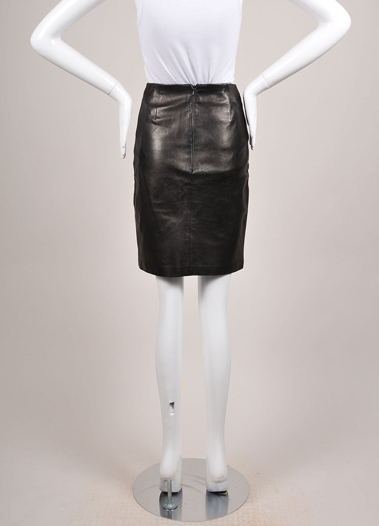 Michael Hoban Black Leather Zip Front Pencil Skirt Backview