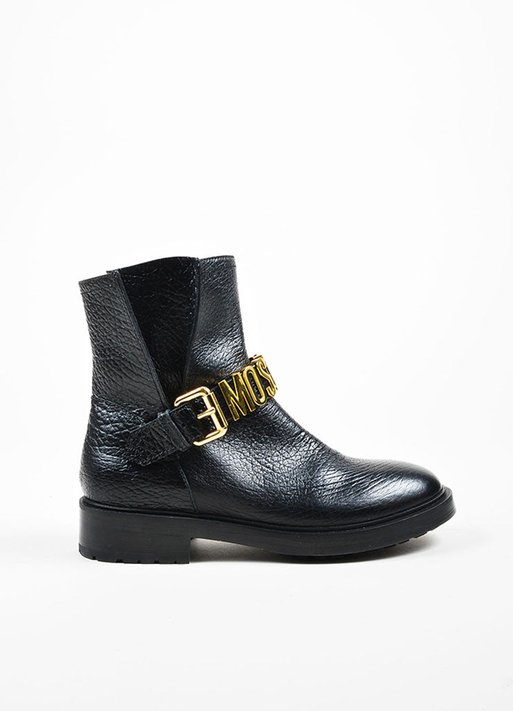 Black Leather and Gold Toned Logo Moschino Couture  Buckled Biker Boots Sideview
