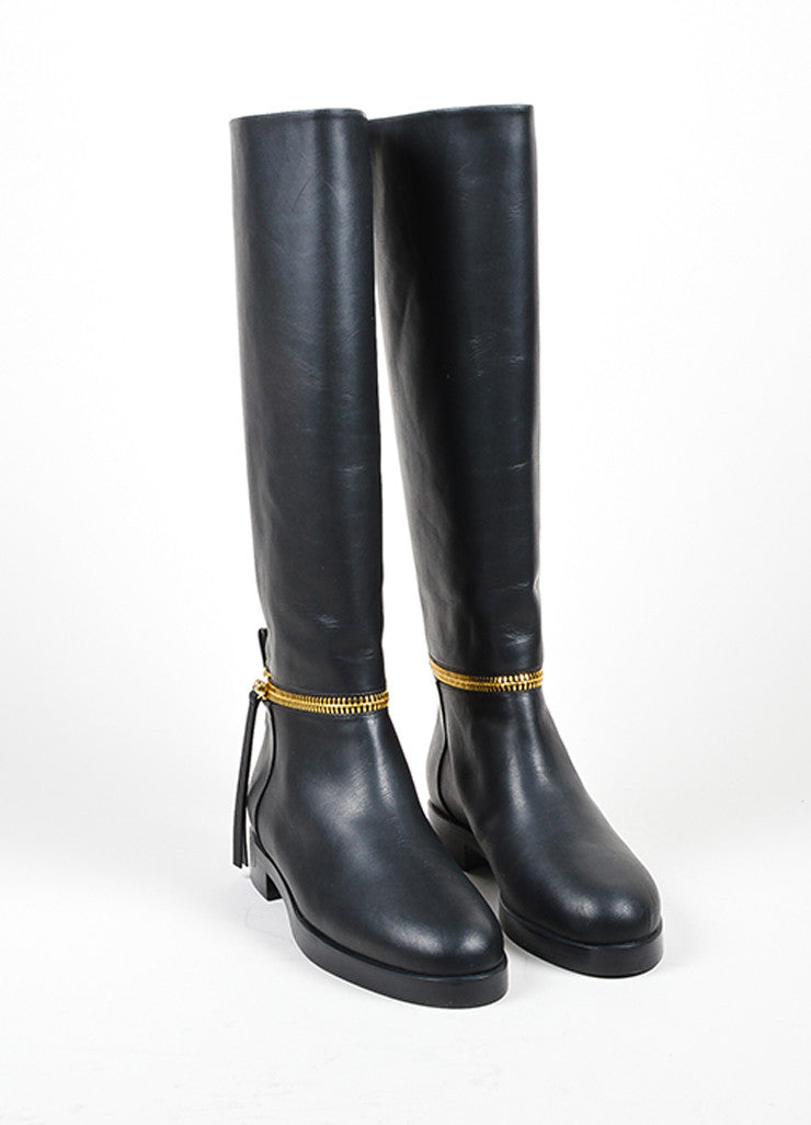 Black Gold Leather Pierre Hardy &quotTom&quot Knee High Boots – Luxury