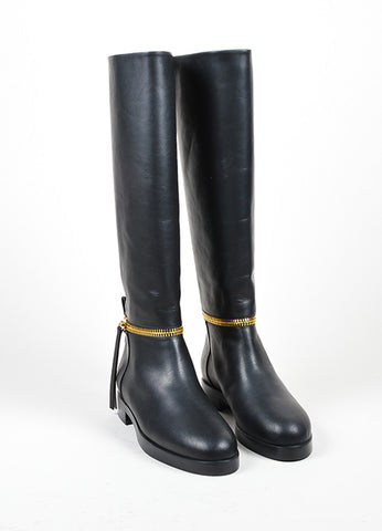 "Black and Gold Toned Leather Pierre Hardy ""Tom"" Knee High Boots Frontview"
