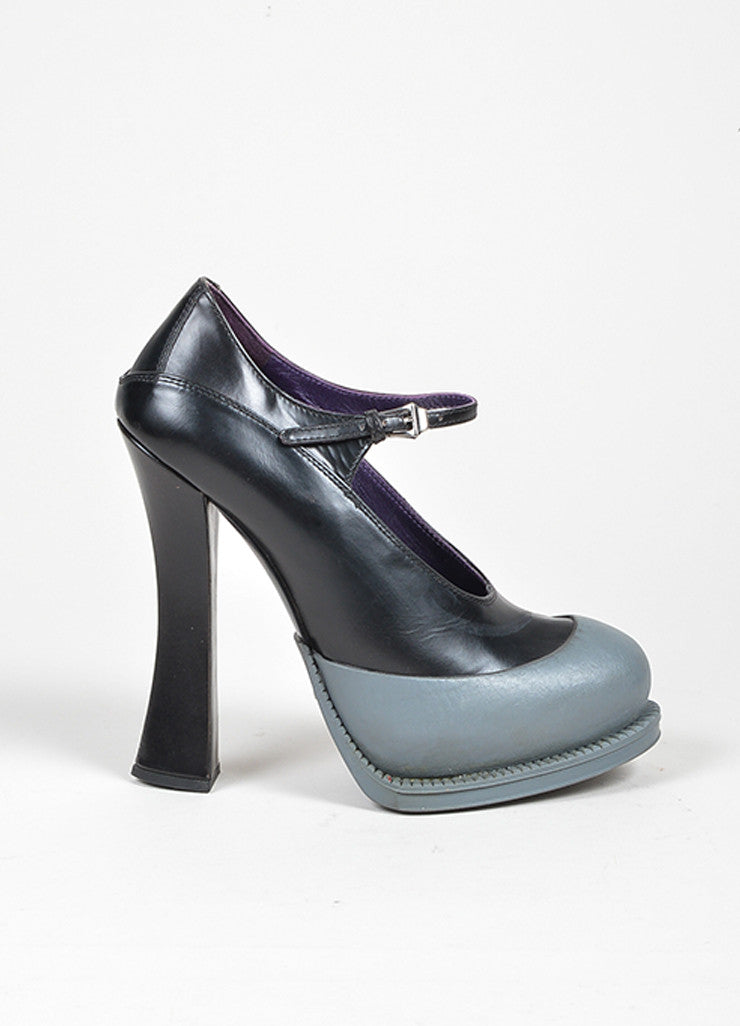 Black and Grey Prada Leather and Rubber Color Block Platform Mary Jane Pumps Sideview