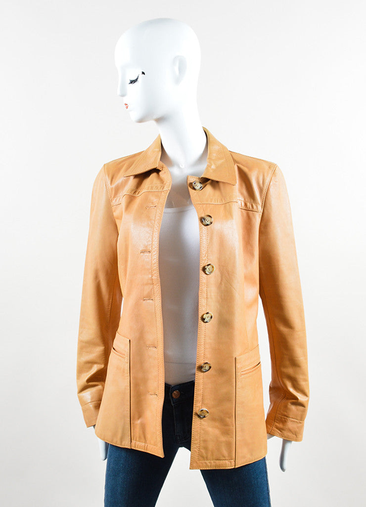 Prada Tan Leather Long Jacket Frontview