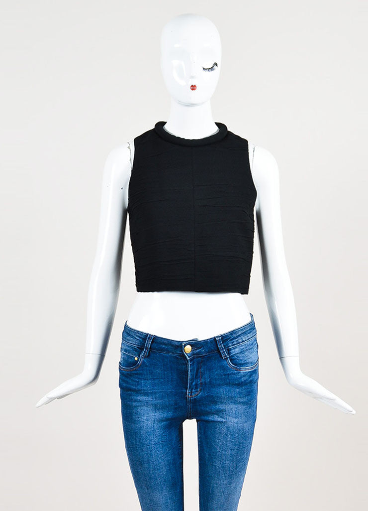 Proenza Schouler Black Crepe Ruched Rolled Neck Sleeveless Crop Top Frontview