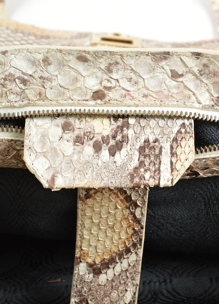 "Proenza Schouler Cream and Grey Python Leather ""PS1 Medium"" Satchel Bag Brand"