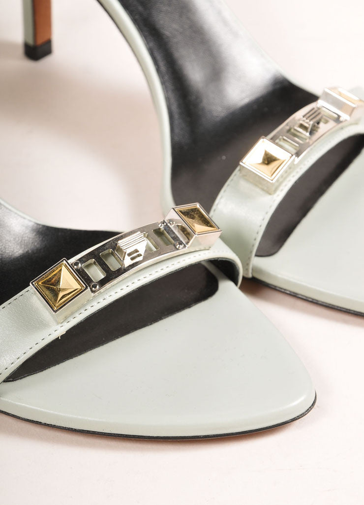 Proenza Schouler New In Box 70mm Low Mint Green Ankle Strap Sandals Detail