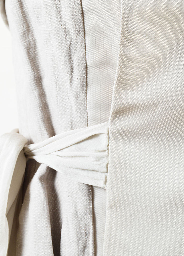 "Rick Owens Beige ""Pearl"" Silk and Cotton Wrap Tie Paneled Vest Detail"