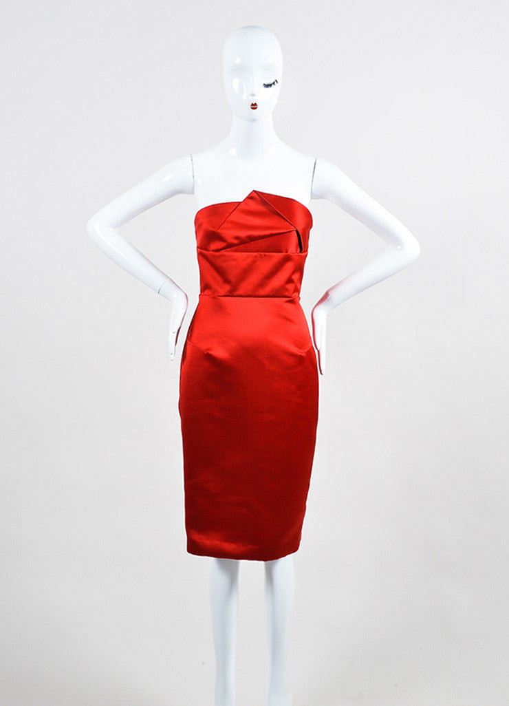 "Red Satin Roland Mouret ""Esther"" Cocktail Dress Front"