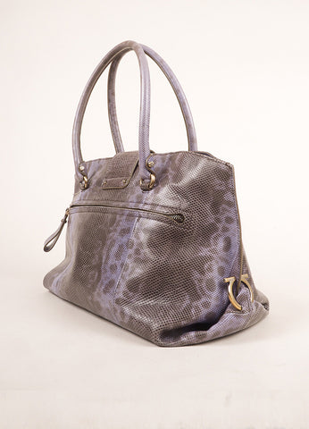 Salvatore Ferragamo Purple and Brown Lizard Leather Top Handle Shoulder Bag Sideview
