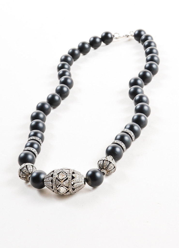 Black Onyx and Pave Diamond Beaded Necklace Sideview