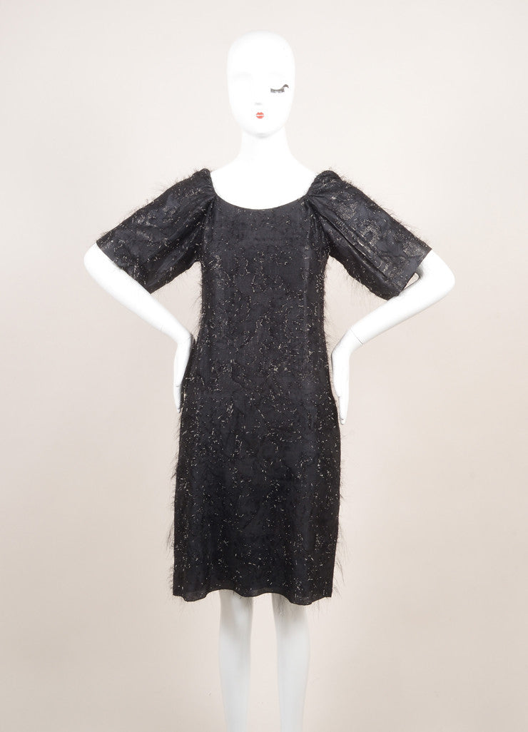 "Sonia Rykiel New With Tags Black Silk Metallic Thread ""Voile"" Dress Frontview"