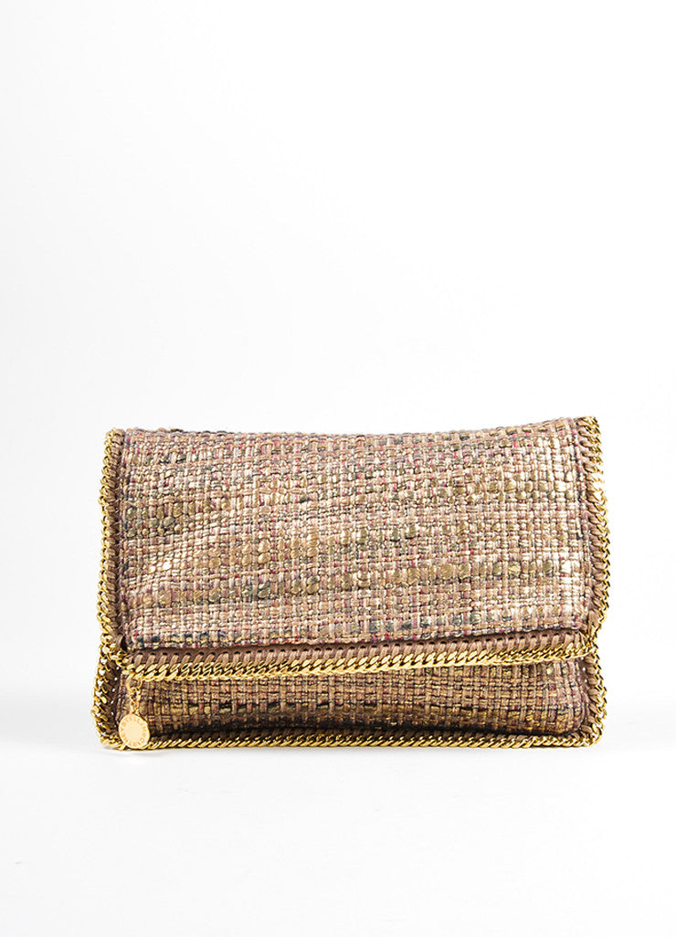 "Stella McCartney Metallic Gold and Brown Tweed ""Boucle Falabella"" Foldover Clutch Bag Frontview"