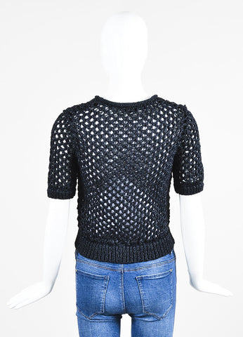 Midnight Blue T by Alexander Wang Nylon Woven Crochet Short Sleeve Cropped Top Backview