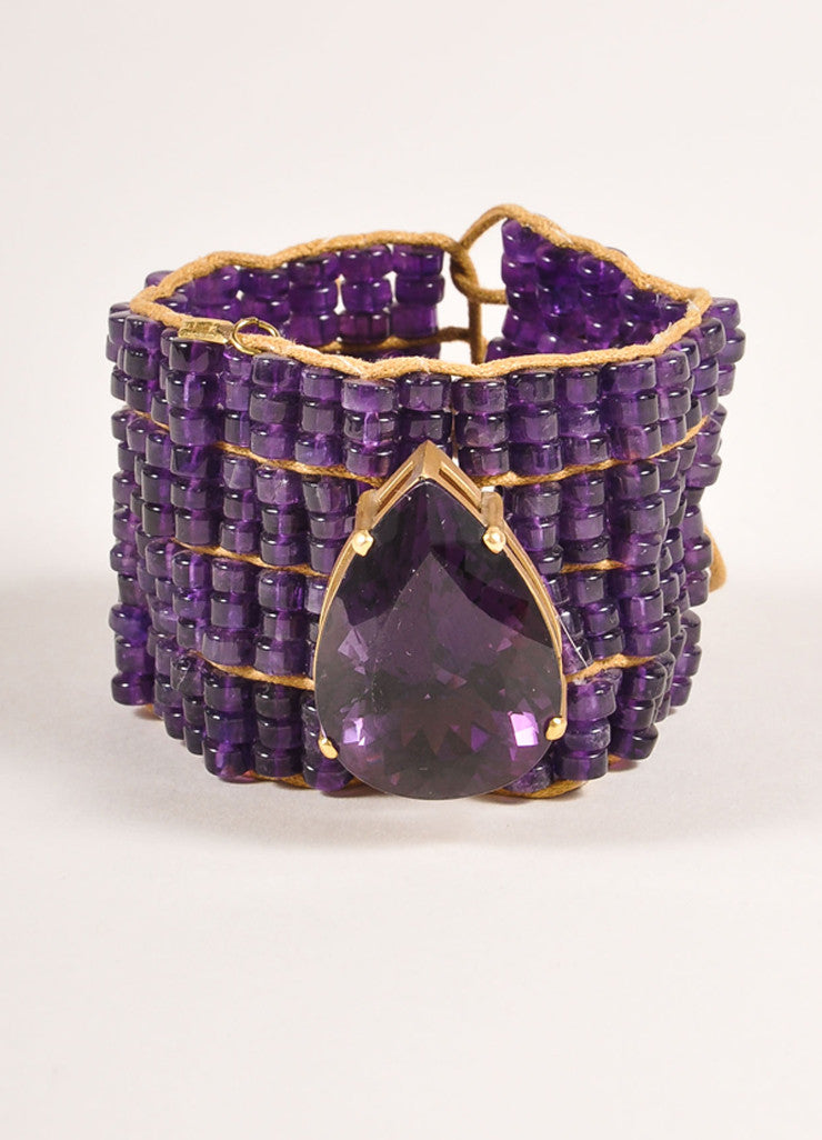 Tereza Xavier Amethyst Purple an Tan Bead and Teardrop Stone Cord Tie Bracelet Frontview