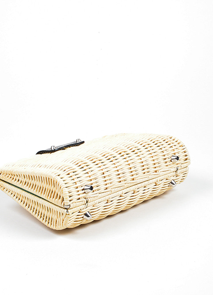 "Beige Woven Wicker and Black Leather Tiffany & Co. ""Blaine"" Convertible Clutch Bag Bottom View"
