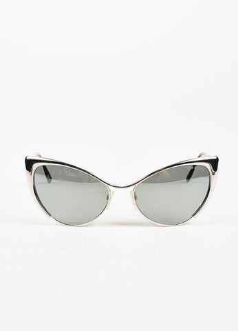 "Tom Ford Silver Tone Mirrored Cat Eye ""Nastasya"" Sunglasses Front"