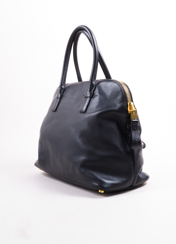 Tom Ford Black Leather and Gold Toned Hardware Bowler Bag Sideview