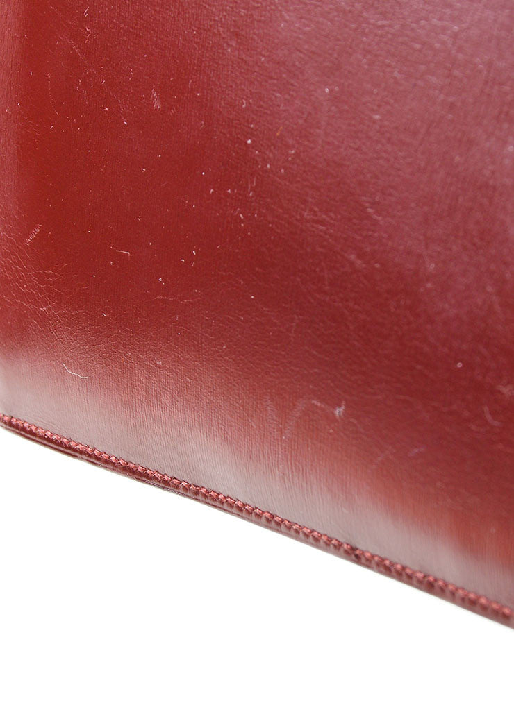 "Red, Maroon, and Tan Hermes Leather Color Block ""Baccara"" Envelope Clutch Detail 2"