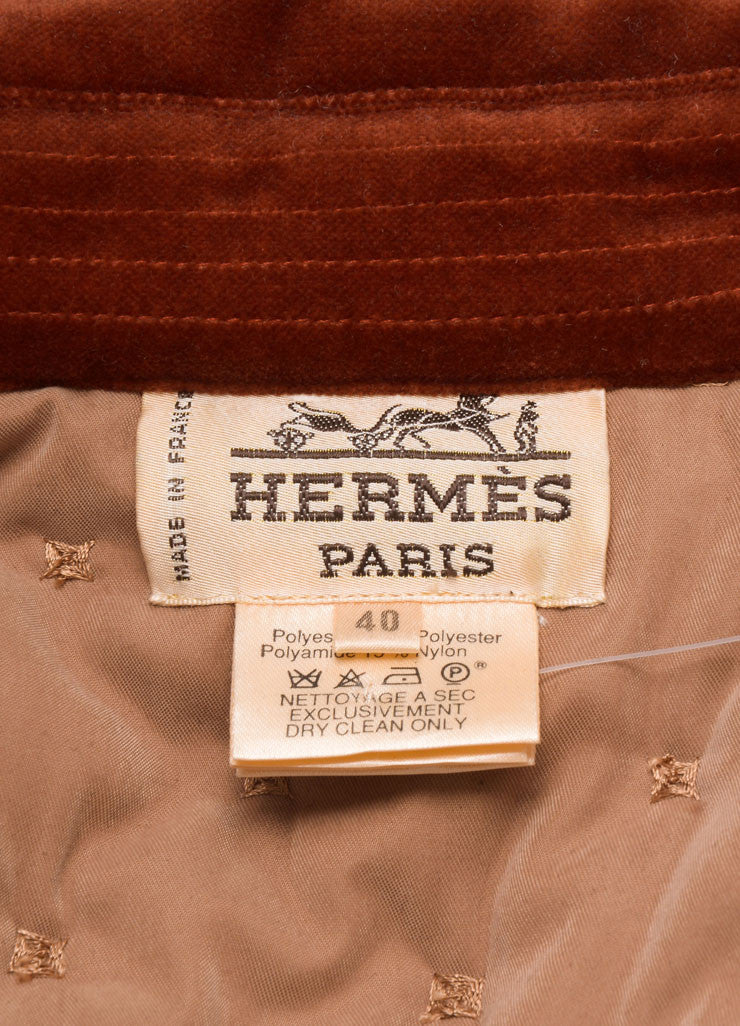 Hermes Taupe and Rust Cotton and Wool Quilted Button Up Jacket Brand