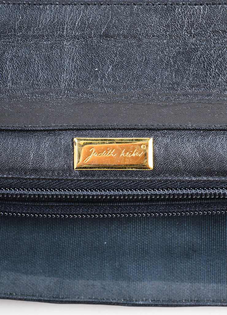 Judith Leiber Black Embroidered Leather Top Handle Flap Briefcase Brand