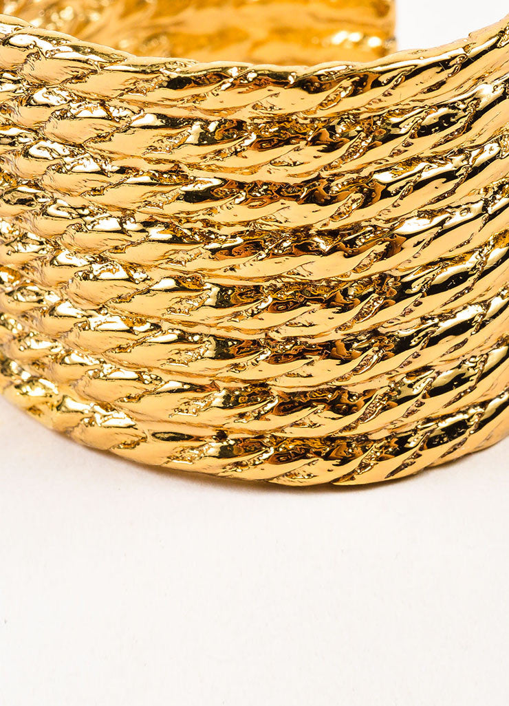 Yves Saint Laurent Gold Toned Rope Textured Wide Cuff Bracelet Detail
